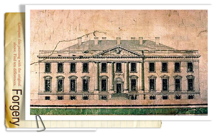 Elevation of the North Side of the White House by James Hoban - Forgery