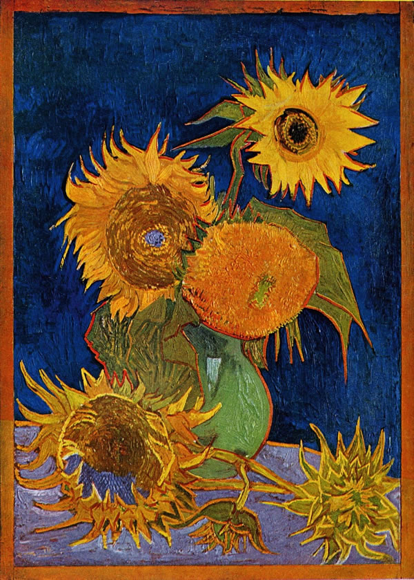 Sunflowers second version: royal-blue background, Oil on canvas, 98 × 69cm Formerly private collection, Japan, destroyed by fire in World War II on 6 August 1945