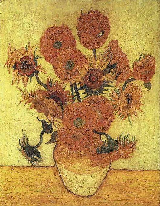 Sunflowers replica of the 4th version (yellow green background), Oil on canvas, 100 × 76cm, Sompo Japan Museum of Art, Tokyo, Japan.