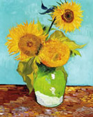 Sunflowers first version: turquoise background, Oil on canvas, 73.5 × 60cm, Private collection