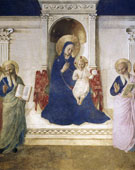 The Madonna enthroned with Saints Cosmas and Damian, Saint Mark and Saint John, Saint Lawrence and three Dominicans, Saint Dominic, Saint Thomas Aquinas and Saint Peter Martyr; San Marco, Florence, Fra Angelico (1395–1455), 1437-1446, fresco