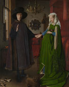 The Arnolfini Portrait, Jan van Eyck (1390–1441), oil on panel, 82 × 59.5 cm (32.3 × 23.4 in), 1434