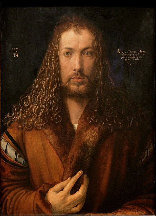Albrecht Dürer (1471–1528)Self-portrait1500oil on panel67 × 49 cm (26.4 × 19.3 in)