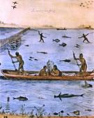 John White, 1540-1593, Indians Fishing, 1585-1586, Watercolor