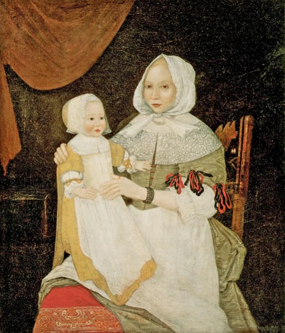 Freake PainterElizabeth Clarke Freake(Mrs. John Freake) and Baby Mary1671 and 1674Oil on canvas42 1/2 x 36 3/4