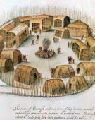 John White, 1540-1593, Indian Village of Pomeiock, 1585-1586, Watercolor