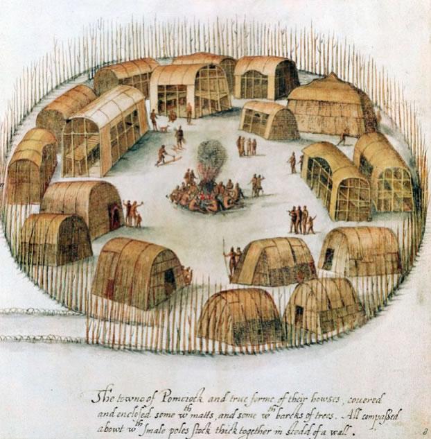 John White1540-1593Indian Village of Pomeiock1585-1586Watercolor