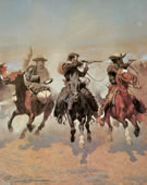 Frederic Remington, 1861-1909, A Dash for the Timber, 1889, Oil on canvas, 48 1/4 x 84 1/8 in.
