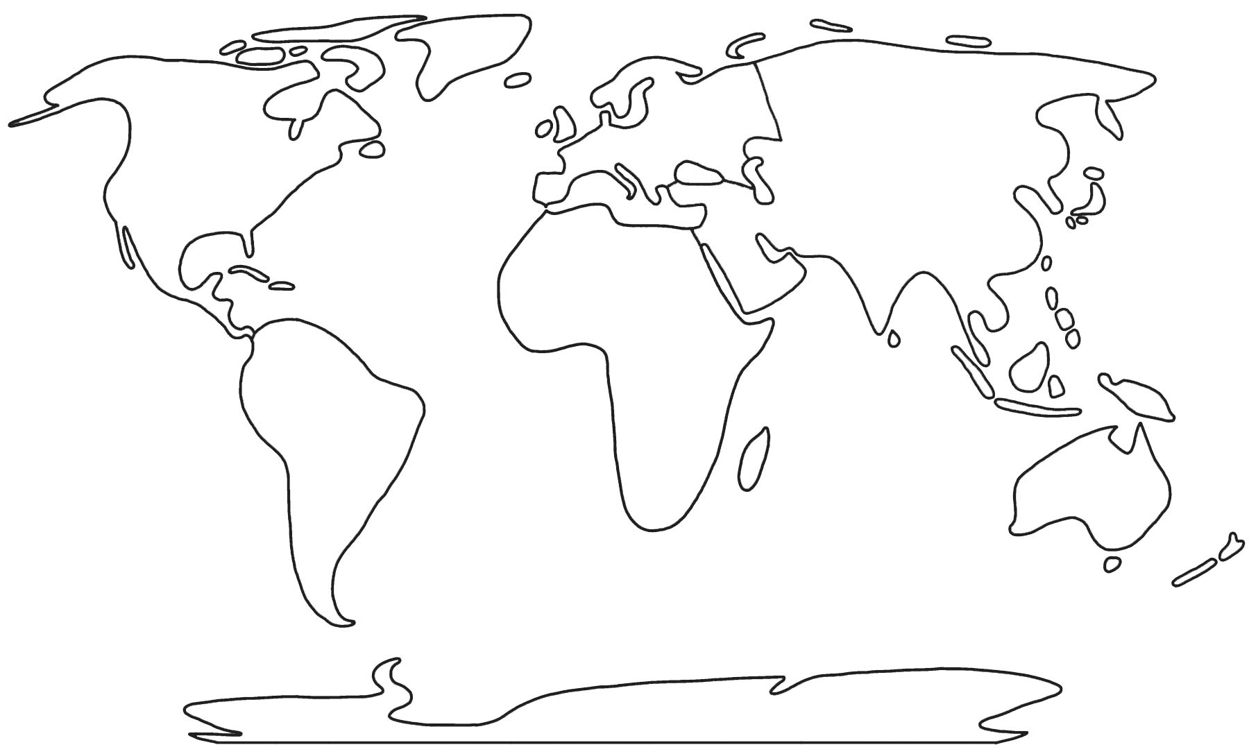 Black and White outline of the world's continents