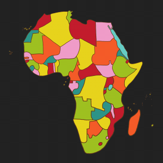 A map of Africa with dark background and colorful countries 1